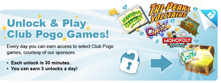 Unlock and Play! Free Club Pogo Games!